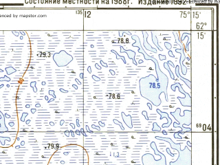 Reduced fragment of topographic map ru--gs--025k--p43-067-1-3_4--N062-15_E075-00-00--N062-10_E075-15-00