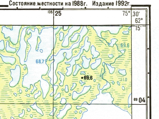 Reduced fragment of topographic map ru--gs--025k--p43-067-2-3_4--N062-15_E075-15-00--N062-10_E075-30-00
