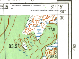 Reduced fragment of topographic map ru--gs--025k--q41-123-3-1_2--(1989)--N064-30_E061-00-00--N064-25_E061-15-00