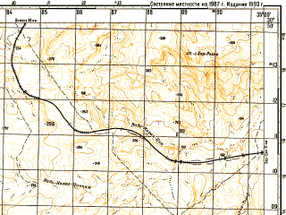 Reduced fragment of topographic map ru--gs--050k--h36-046-4--N030-50_E034-45--N030-40_E035-00