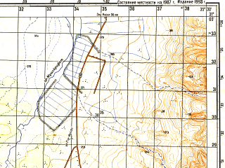 Reduced fragment of topographic map ru--gs--050k--h36-047-2--N031-00_E035-15--N030-50_E035-30; towns and cities Feifa