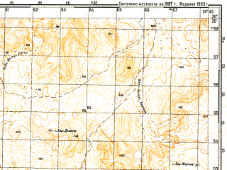 Reduced fragment of topographic map ru--gs--050k--h36-070-1--N030-20_E034-30--N030-10_E034-45