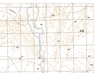 Reduced fragment of topographic map ru--gs--050k--h41-003-1--N032-00_E061-00--N031-50_E061-15