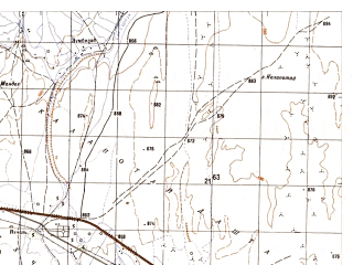 Reduced fragment of topographic map ru--gs--050k--h41-010-3--N031-50_E064-30--N031-40_E064-45; towns and cities Yakhchal