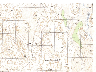 Reduced fragment of topographic map ru--gs--050k--h41-015-1--N031-40_E061-00--N031-30_E061-15