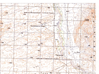 Reduced fragment of topographic map ru--gs--050k--h41-036-4--N031-10_E065-45--N031-00_E066-00