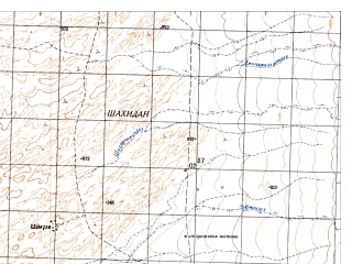Reduced fragment of topographic map ru--gs--050k--h41-084-4--N029-50_E065-45--N029-40_E066-00; towns and cities Azam Khan