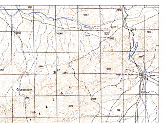 Reduced fragment of topographic map ru--gs--050k--h42-004-3--N031-50_E067-30--N031-40_E067-45