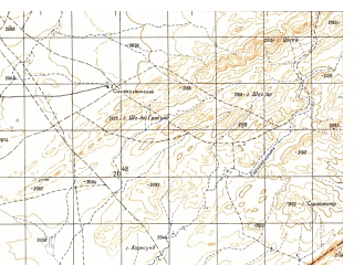Reduced fragment of topographic map ru--gs--050k--h42-005-4--N031-50_E068-15--N031-40_E068-30
