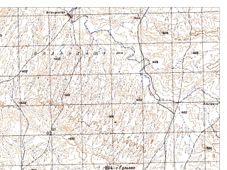 Reduced fragment of topographic map ru--gs--050k--h42-014-1--N031-40_E066-30--N031-30_E066-45; towns and cities Banau Kheyl