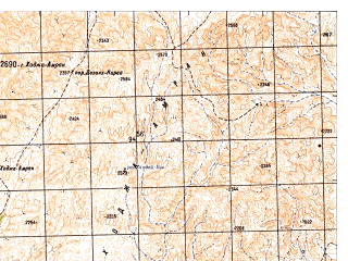 Reduced fragment of topographic map ru--gs--050k--h42-049-2--N030-40_E066-15--N030-30_E066-30; towns and cities Serah Tsahan