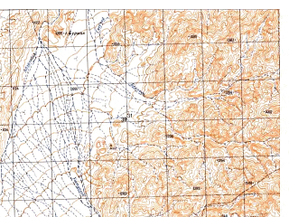 Reduced fragment of topographic map ru--gs--050k--h42-061-3--N030-10_E066-00--N030-00_E066-15; towns and cities Aydowzi