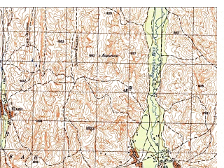 Reduced fragment of topographic map ru--gs--050k--i41-023-1--N035-40_E065-00--N035-30_E065-15
