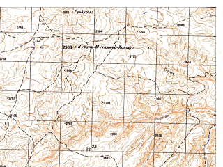 Reduced fragment of topographic map ru--gs--050k--i41-023-4--N035-30_E065-15--N035-20_E065-30