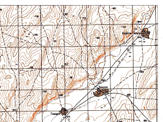 Reduced fragment of topographic map ru--gs--050k--i41-028-3--N035-10_E061-30--N035-00_E061-45; towns and cities Golran
