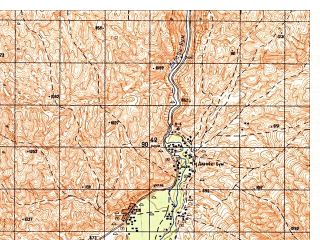Reduced fragment of topographic map ru--gs--050k--i41-031-4--N035-10_E063-15--N035-00_E063-30; towns and cities Darreh-ye Bum