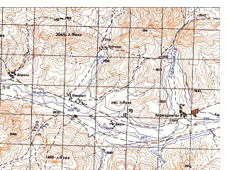 Reduced fragment of topographic map ru--gs--050k--i41-036-2--N035-20_E065-45--N035-10_E066-00; towns and cities Gazak