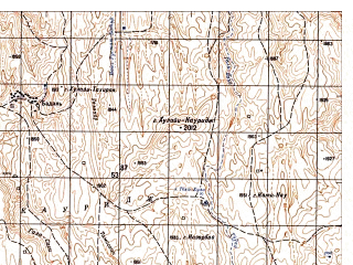 Reduced fragment of topographic map ru--gs--050k--i41-044-4--N034-50_E063-45--N034-40_E064-00; towns and cities Besa
