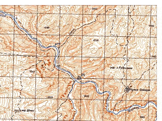 Reduced fragment of topographic map ru--gs--050k--i41-047-2--N035-00_E065-15--N034-50_E065-30; towns and cities Khwazagak