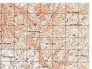 Reduced fragment of topographic map ru--gs--050k--i41-057-3--N034-30_E064-00--N034-20_E064-15