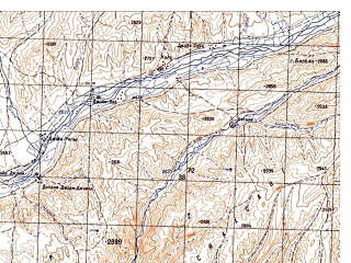 Reduced fragment of topographic map ru--gs--050k--i41-060-2--N034-40_E065-45--N034-30_E066-00