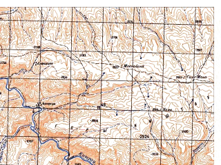 Reduced fragment of topographic map ru--gs--050k--i41-060-3--N034-30_E065-30--N034-20_E065-45