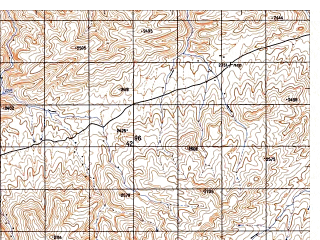 Reduced fragment of topographic map ru--gs--050k--i41-078-4--N033-50_E062-45--N033-40_E063-00