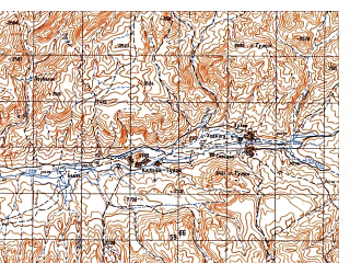 Reduced fragment of topographic map ru--gs--050k--i41-080-1--N034-00_E063-30--N033-50_E063-45; towns and cities Dahane Kaftarkhan