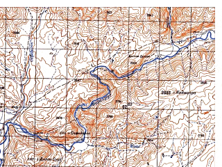 Reduced fragment of topographic map ru--gs--050k--i41-082-2--N034-00_E064-45--N033-50_E065-00; towns and cities Garmaw