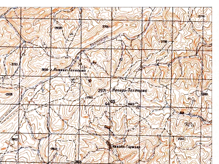Reduced fragment of topographic map ru--gs--050k--i41-083-3--N033-50_E065-00--N033-40_E065-15