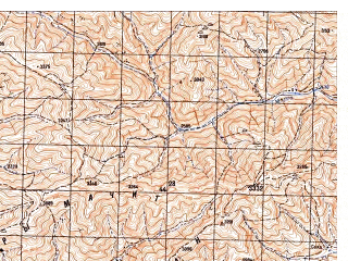 Reduced fragment of topographic map ru--gs--050k--i41-083-4--N033-50_E065-15--N033-40_E065-30