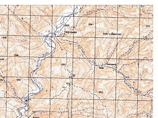 Reduced fragment of topographic map ru--gs--050k--i41-084-3--N033-50_E065-30--N033-40_E065-45