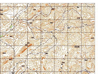 Reduced fragment of topographic map ru--gs--050k--i41-090-4--N033-30_E062-45--N033-20_E063-00