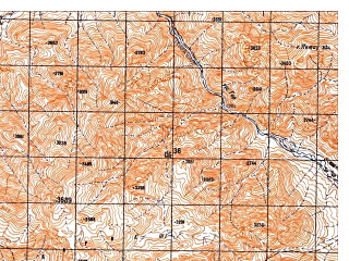 Reduced fragment of topographic map ru--gs--050k--i41-093-4--N033-30_E064-15--N033-20_E064-30; towns and cities Varas