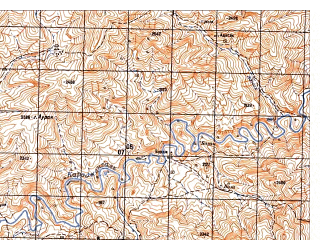 Reduced fragment of topographic map ru--gs--050k--i41-095-3--N033-30_E065-00--N033-20_E065-15; towns and cities Sinay