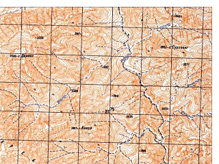 Reduced fragment of topographic map ru--gs--050k--i41-096-2--N033-40_E065-45--N033-30_E066-00