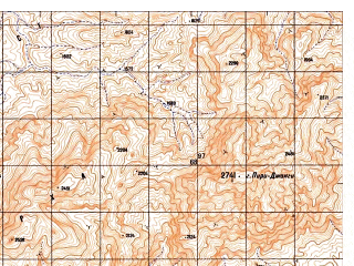Reduced fragment of topographic map ru--gs--050k--i41-102-4--N033-10_E062-45--N033-00_E063-00; towns and cities Azaw