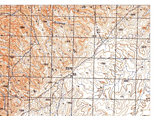 Reduced fragment of topographic map ru--gs--050k--i41-108-3--N033-10_E065-30--N033-00_E065-45; towns and cities Kandu-ye Bala