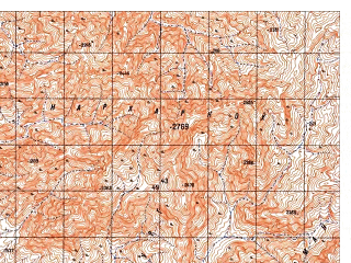 Reduced fragment of topographic map ru--gs--050k--i41-115-2--N033-00_E063-15--N032-50_E063-30; towns and cities Gur Zanak