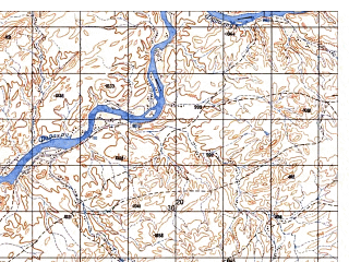 Reduced fragment of topographic map ru--gs--050k--i41-115-3--N032-50_E063-00--N032-40_E063-15