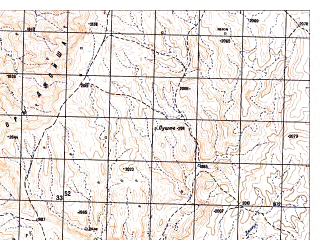 Reduced fragment of topographic map ru--gs--050k--i41-120-3--N032-50_E065-30--N032-40_E065-45