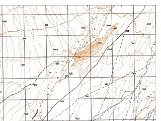 Reduced fragment of topographic map ru--gs--050k--i41-123-4--N032-30_E061-15--N032-20_E061-30