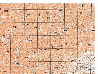 Reduced fragment of topographic map ru--gs--050k--i41-129-1--N032-40_E064-00--N032-30_E064-15