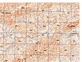 Reduced fragment of topographic map ru--gs--050k--i41-129-2--N032-40_E064-15--N032-30_E064-30