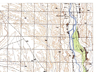 Reduced fragment of topographic map ru--gs--050k--i41-130-3--N032-30_E064-30--N032-20_E064-45