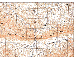 Reduced fragment of topographic map ru--gs--050k--i41-132-3--N032-30_E065-30--N032-20_E065-45; towns and cities Sardagh