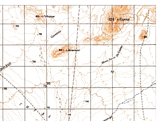 Reduced fragment of topographic map ru--gs--050k--i41-138-2--N032-20_E062-45--N032-10_E063-00; towns and cities Soltan-e Bakva