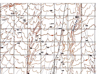 Reduced fragment of topographic map ru--gs--050k--i41-139-2--N032-20_E063-15--N032-10_E063-30