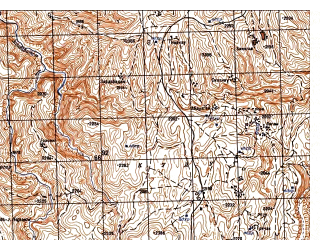 Reduced fragment of topographic map ru--gs--050k--i42-002-3--N035-50_E066-30--N035-40_E066-45; towns and cities Bakhtgan-e Bala
