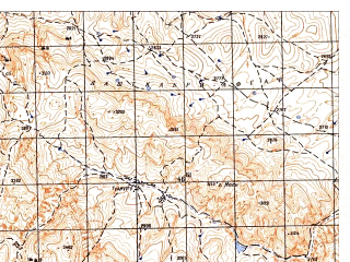 Reduced fragment of topographic map ru--gs--050k--i42-015-2--N035-40_E067-15--N035-30_E067-30